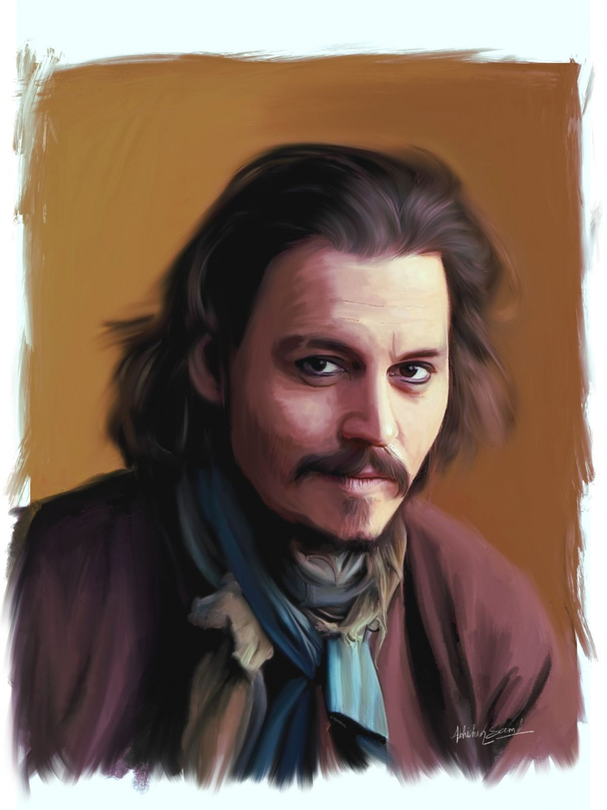 digital painting celebrity portrait johnny depp by abhishek samal