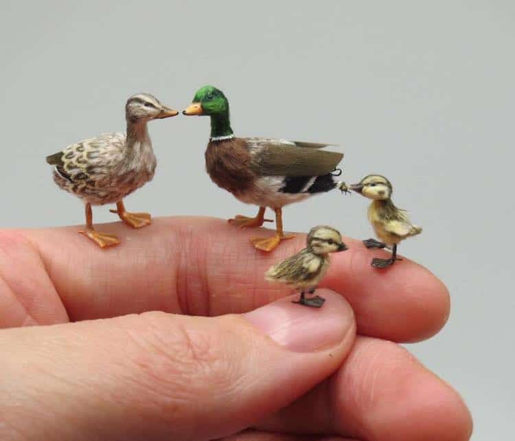 miniature polymer clay sculpture ducks by fanni sandor