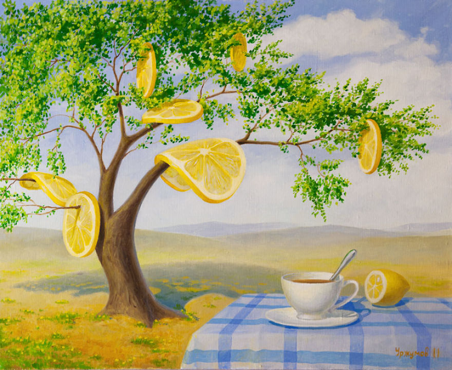 surreal oil painting lemon tree by vitaly urzhumov
