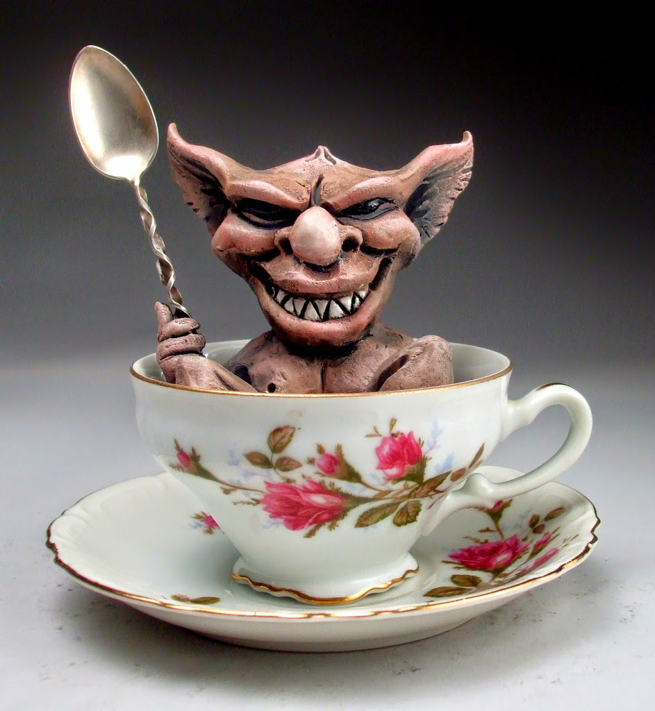 ceramic sculpture gremlin cup by mitchell grafton