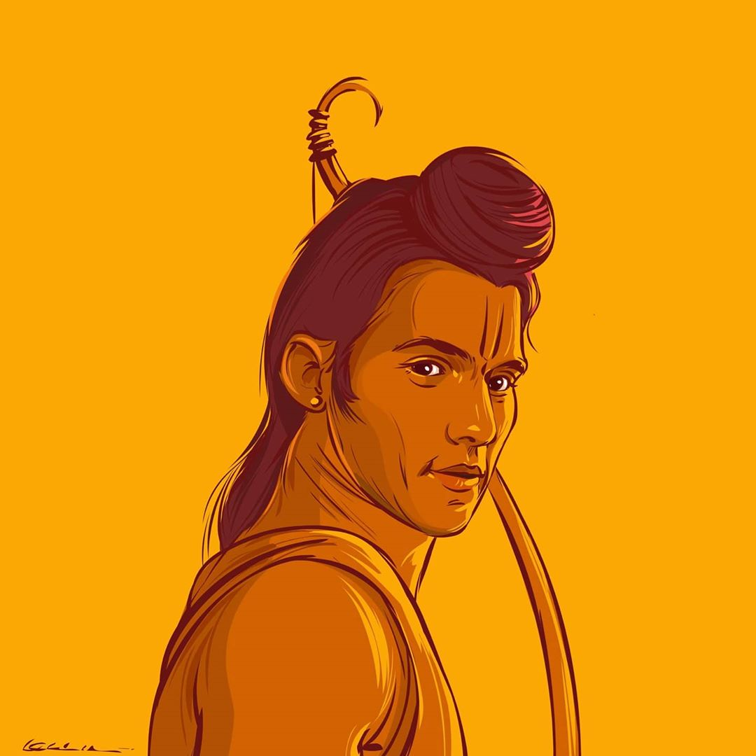 digital illustration lord ram by karan acharya