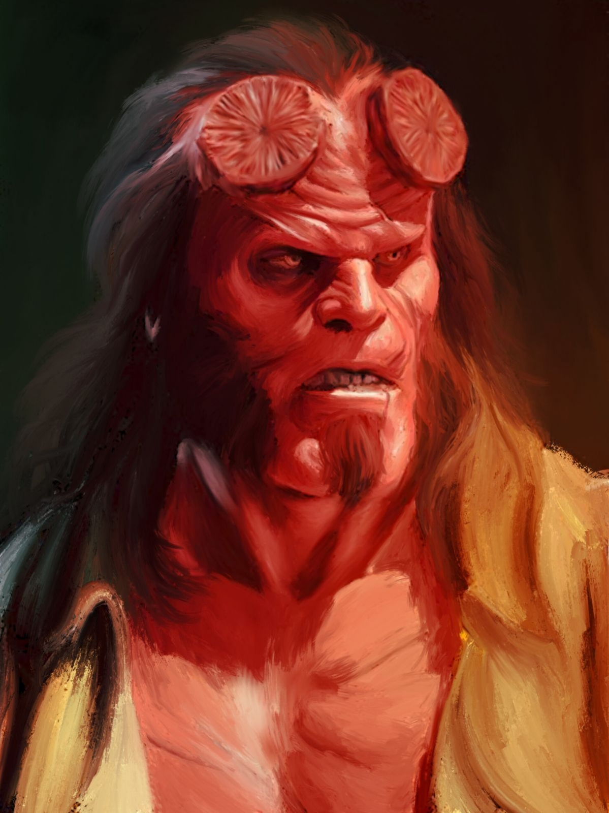 digital painting celebrity portrait hellboy by abhishek samal