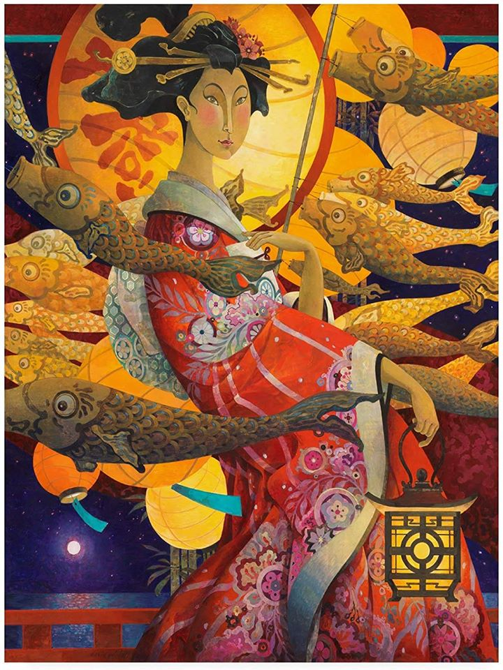 surreal oil painting princess japanese by david galchutt