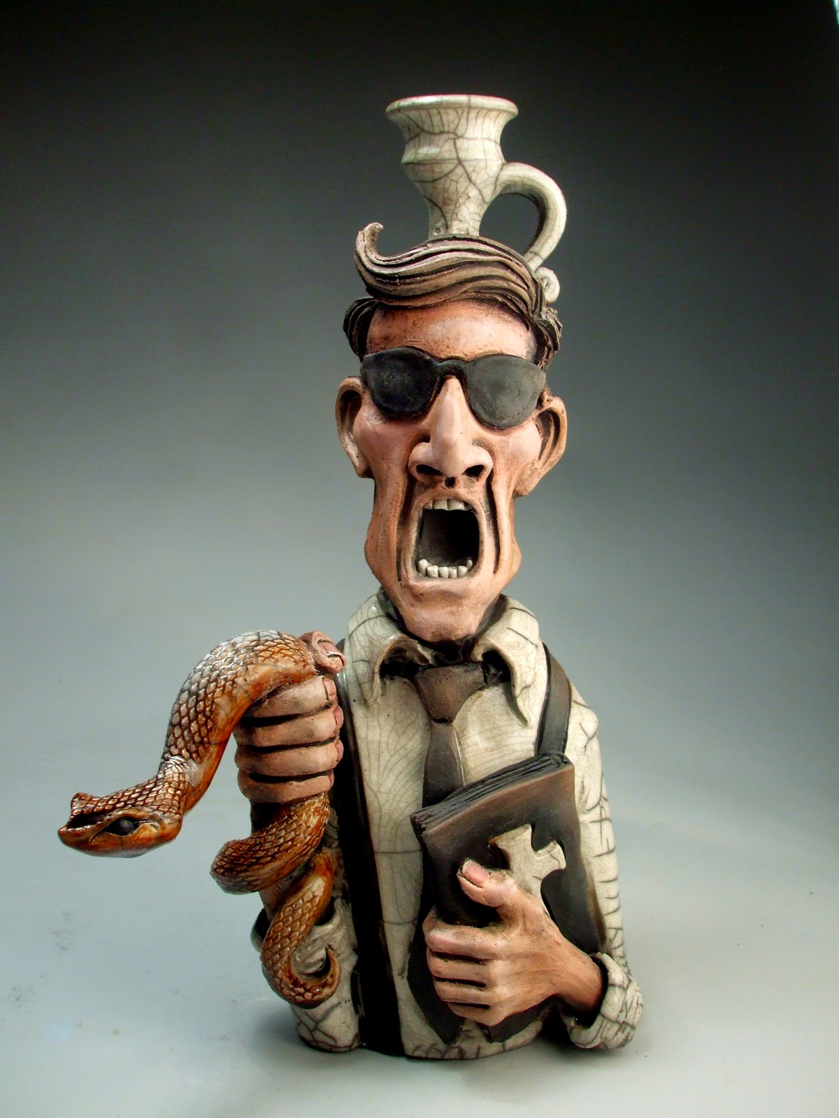 ceramic sculpture snake catcher jug by mitchell grafton