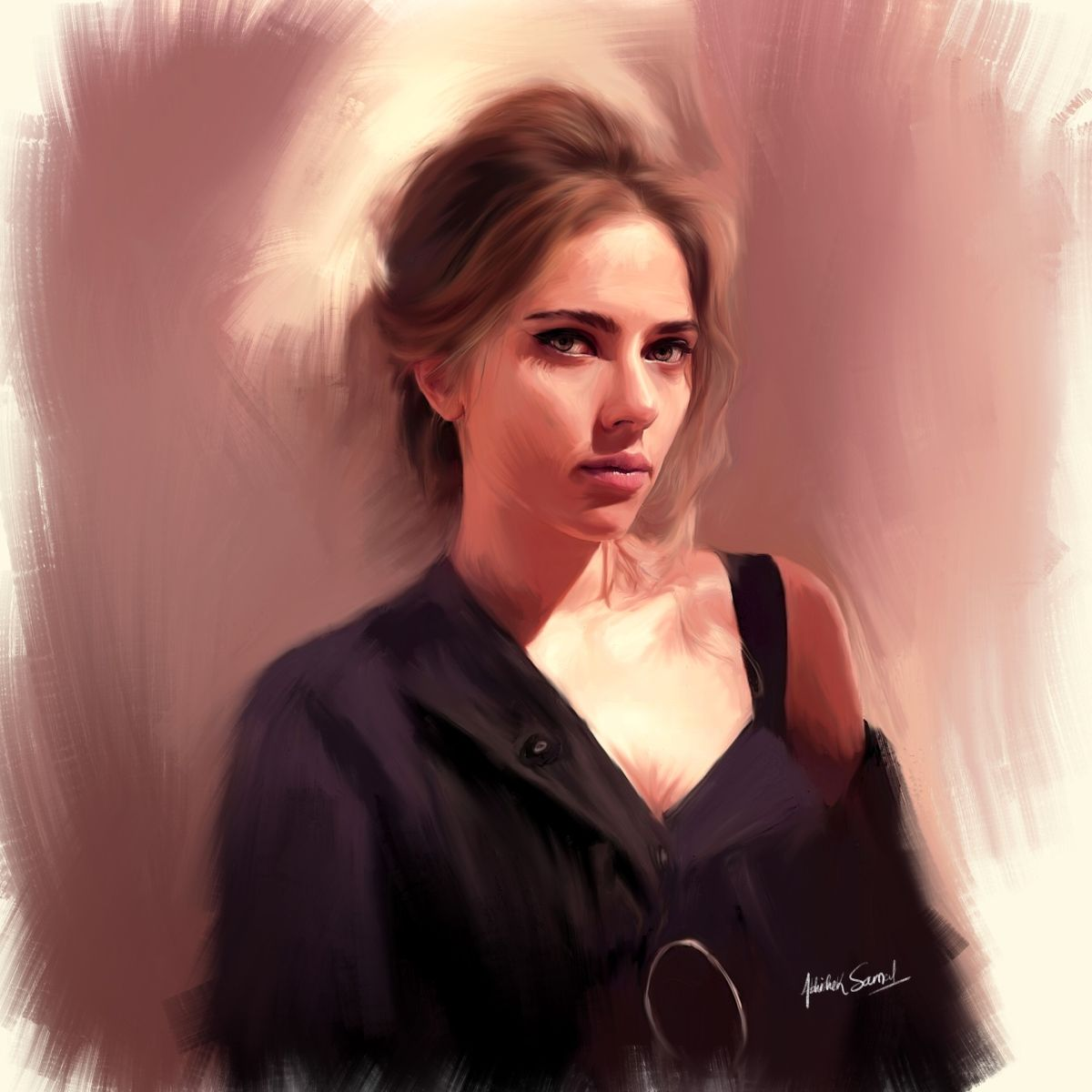 digital painting celebrity portrait scarlett johansson by abhishek samal