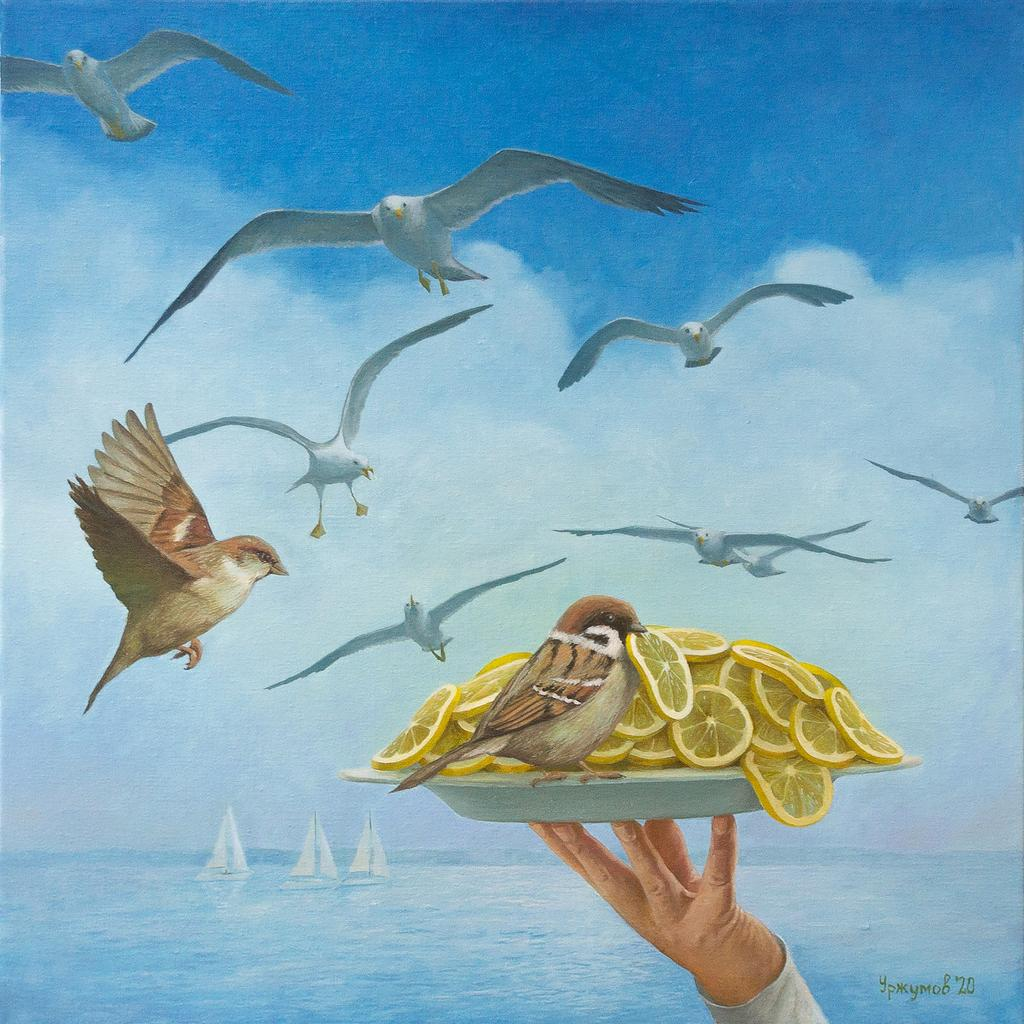 surreal oil painting dinner served by vitaly urzhumov