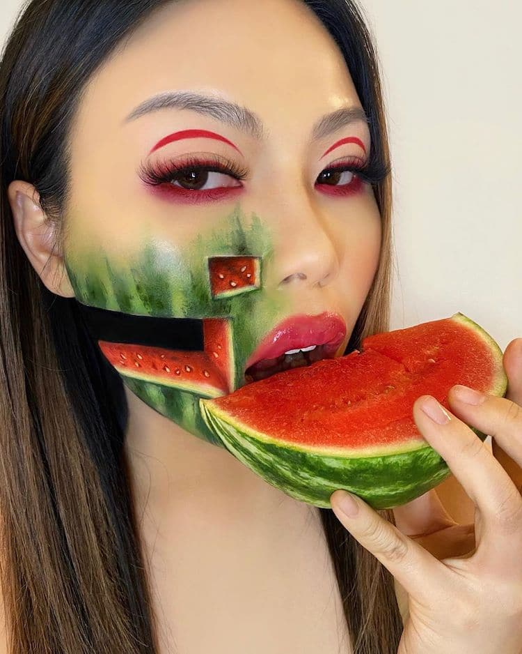 body painting art face watermelon by mimi choi
