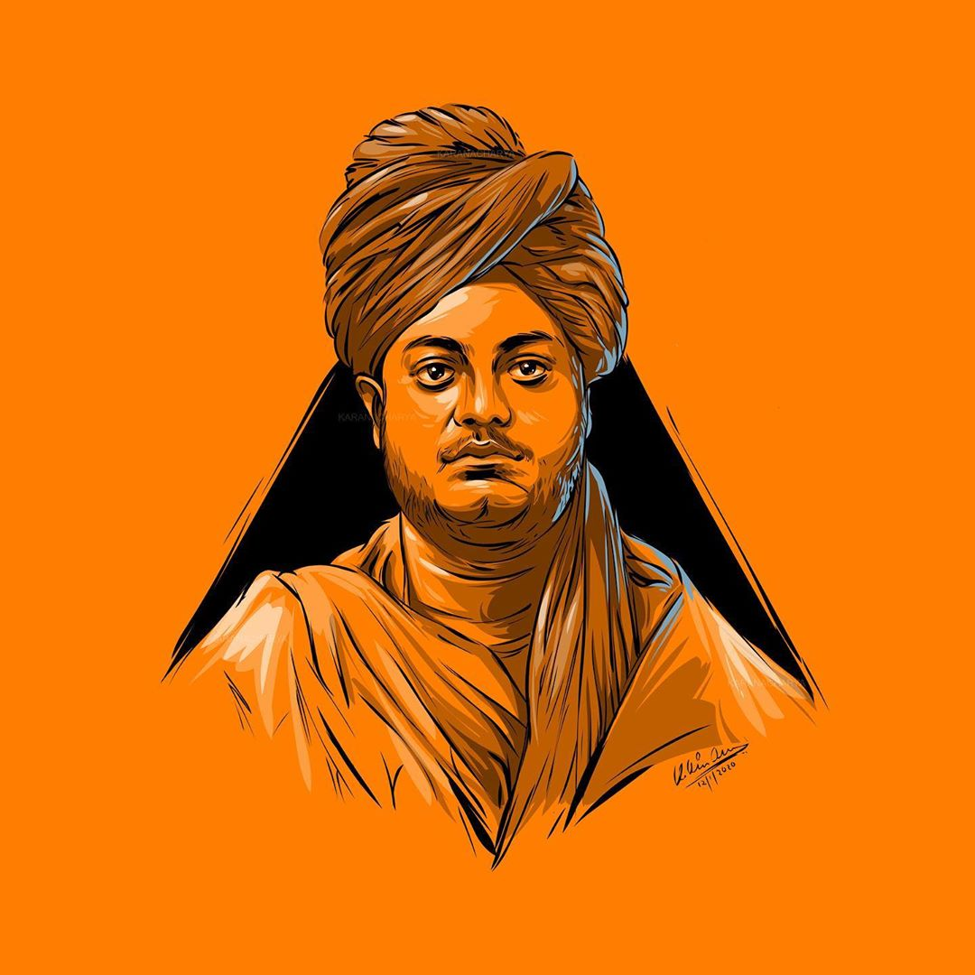 digital illustration swami vivekanda by karan acharya
