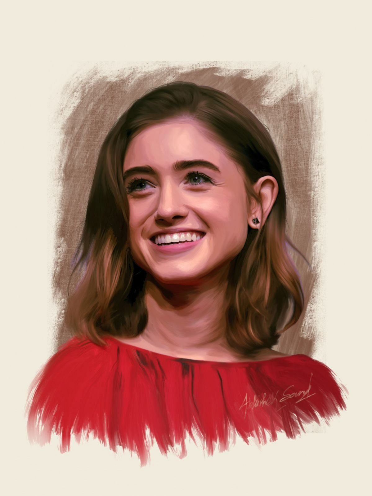 digital painting celebrity portrait natalia dyer by abhishek samal