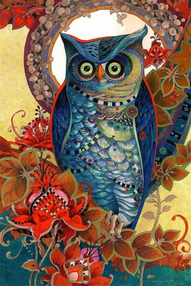 oil painting owl by david galchutt