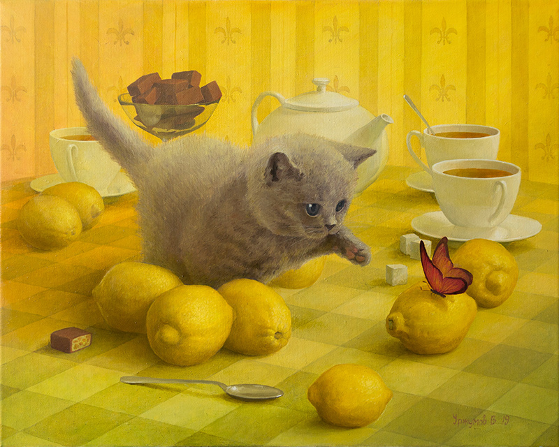 surreal oil painting cat lemon butterfly by vitaly urzhumov