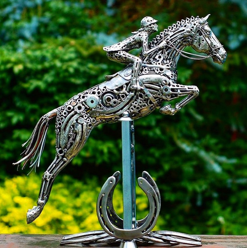 scrap sculpture polo rider by brian mock