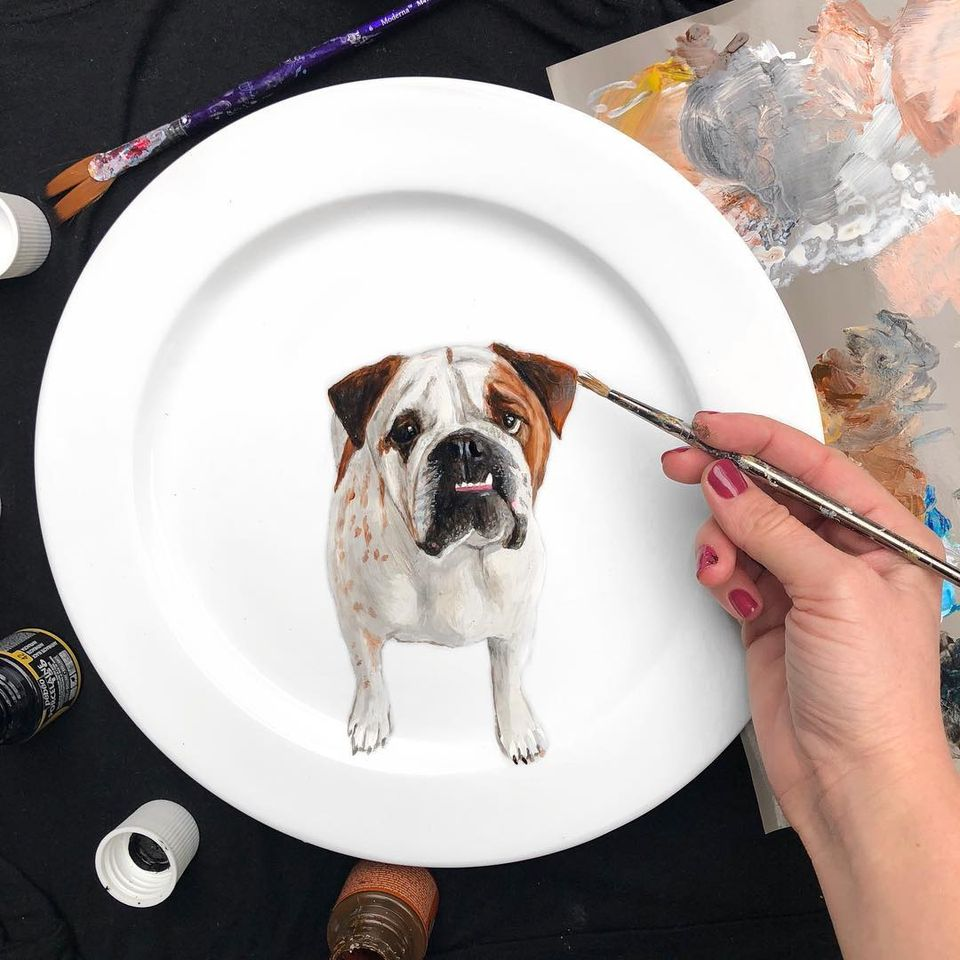 painting dog by jacqueline poirier