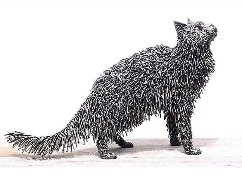scrap sculpture cat by brian mock
