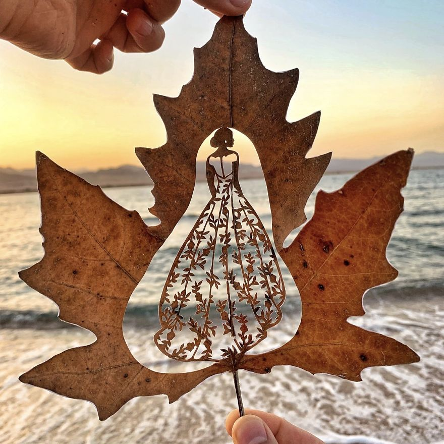 leaf cutout art sunset girl by kanat nurtazin