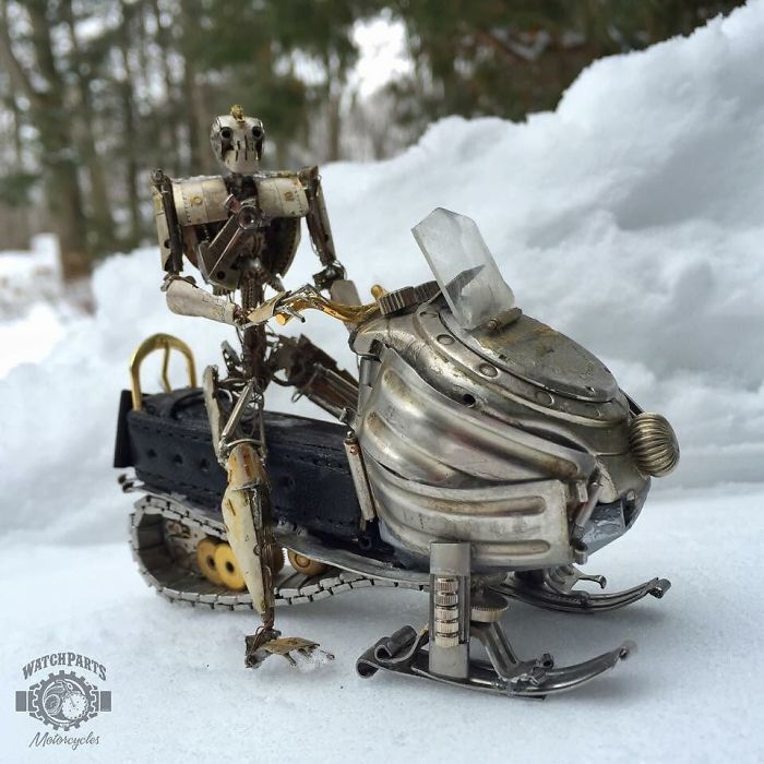 scrap sculpture old watch snow mobile by dan tanenbaum