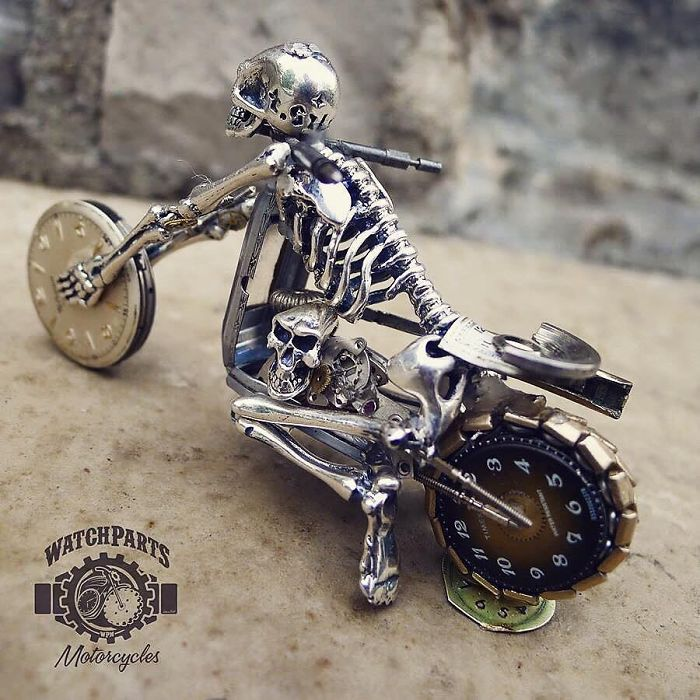 scrap sculpture old watch ghost rider bike by dan tanenbaum