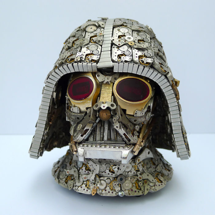 scrap sculpture old watch darth vader by dan tanenbaum