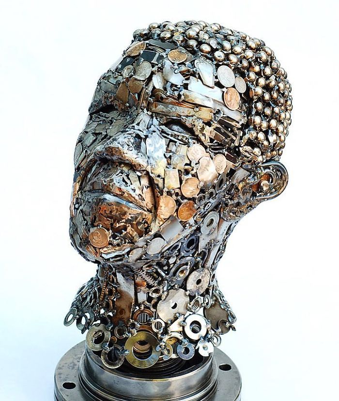 scrap sculpture face by brian mock