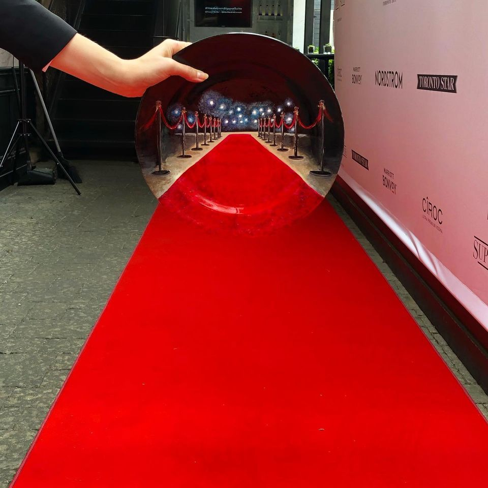 painting red carpet by jacqueline poirier