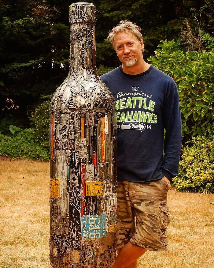 scrap sculpture bottle by brian mock