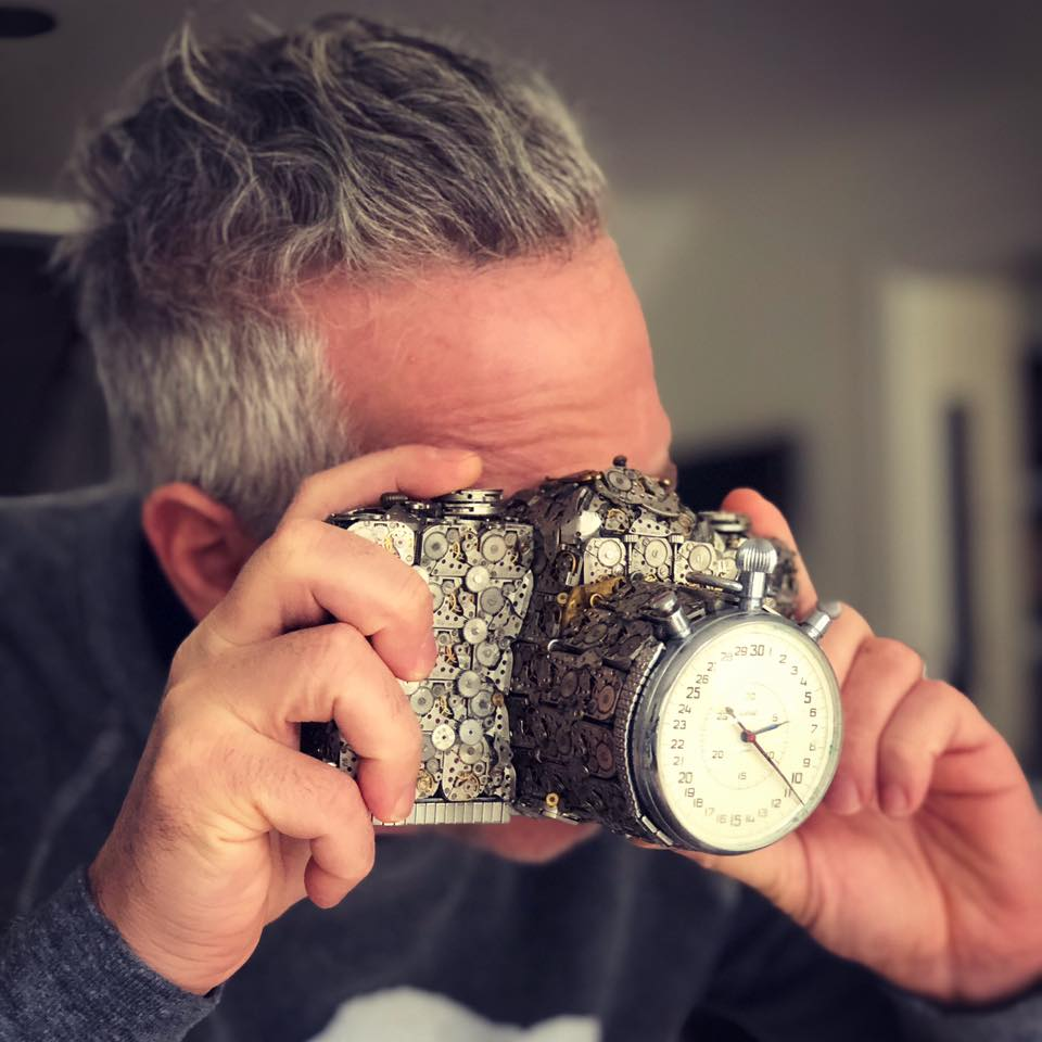 scrap sculpture old watch camera by dan tanenbaum