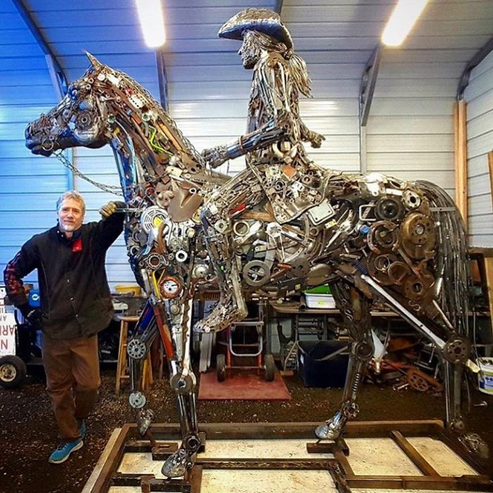 scrap sculpture horse rider by brian mock