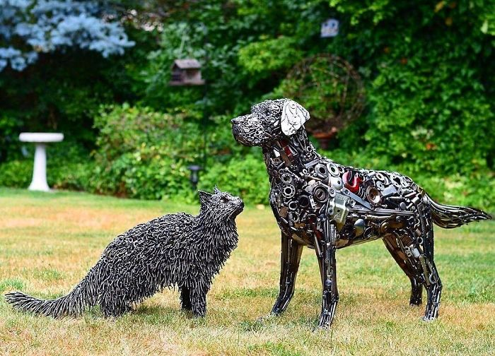 scrap sculpture animal friends by brian mock