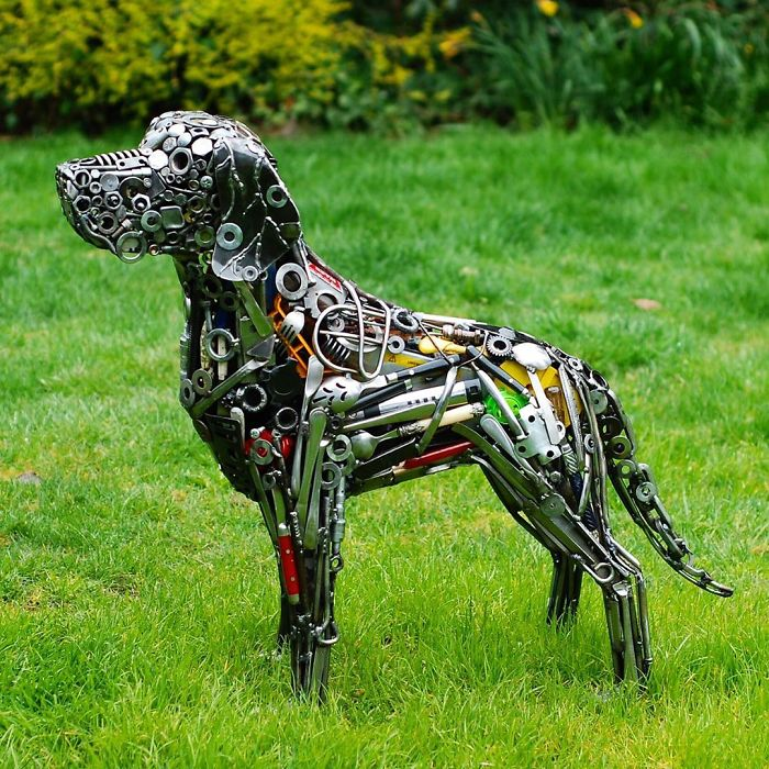 scrap sculpture dog by brian mock