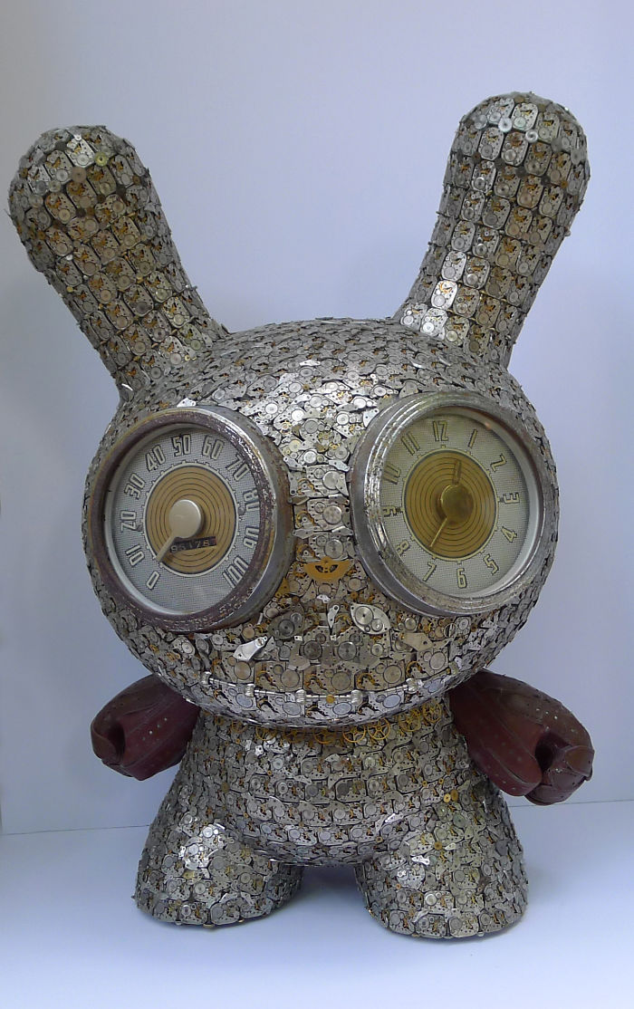 scrap sculpture old watch toy by dan tanenbaum