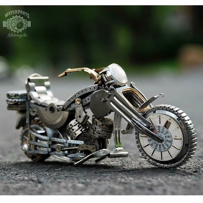 scrap sculpture old watch avenger bike by dan tanenbaum