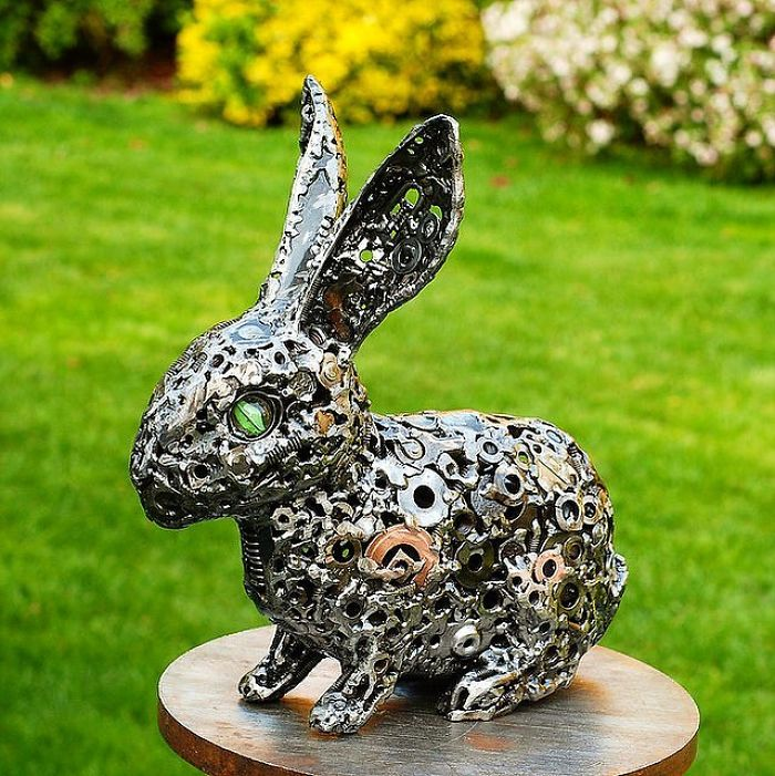 scrap sculpture rabbit by brian mock