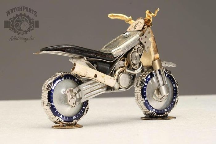scrap sculpture old watch motorcycle by dan tanenbaum