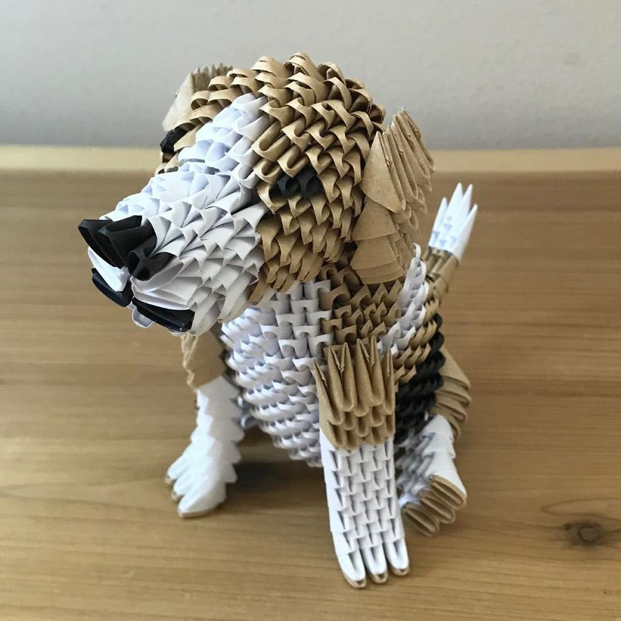paper animal sculpture dog by faith chung