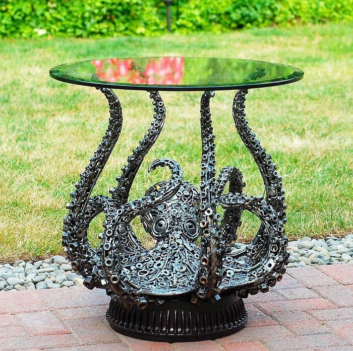 scrap sculpture octopus table by brian mock
