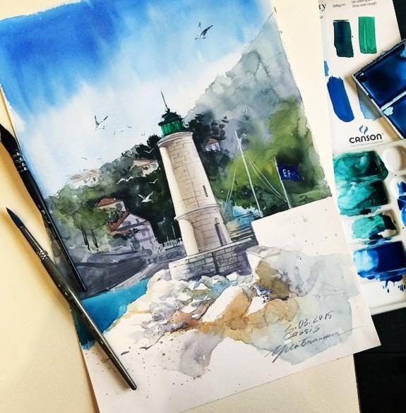building watercolor paintings by julia barminova