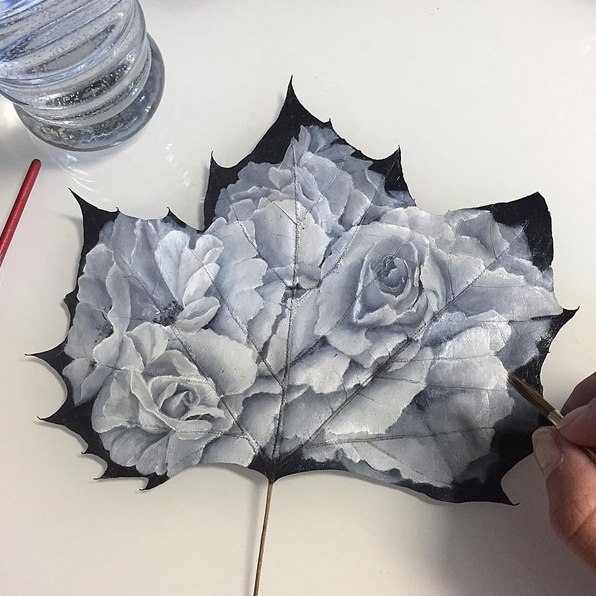 flower creative painting leaf by janette rose