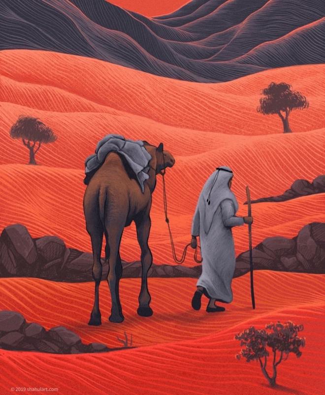 digital illustration desert walk shahul hameed
