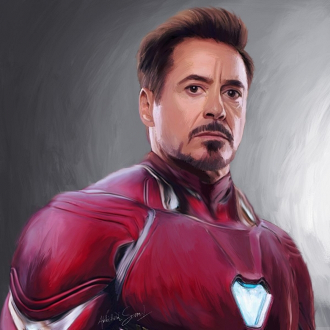digital painting celebrity portrait tony stark by abhishek samal