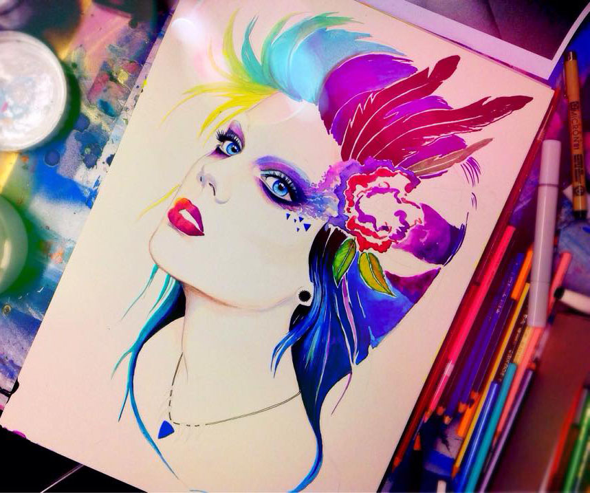 colourful girl painting by pixie cold