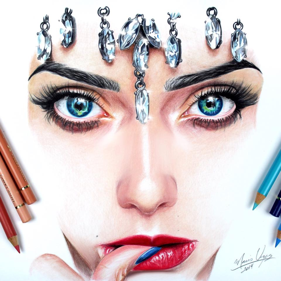 face color pencil drawing