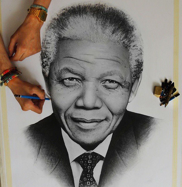 nelson mandela pencil drawing by oscart