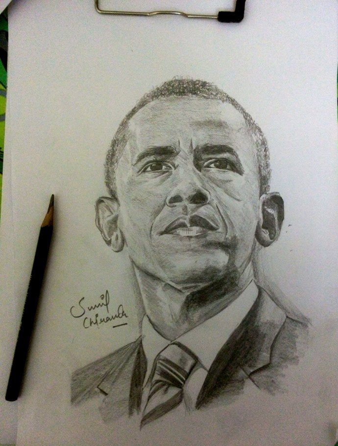 obama pencil drawing