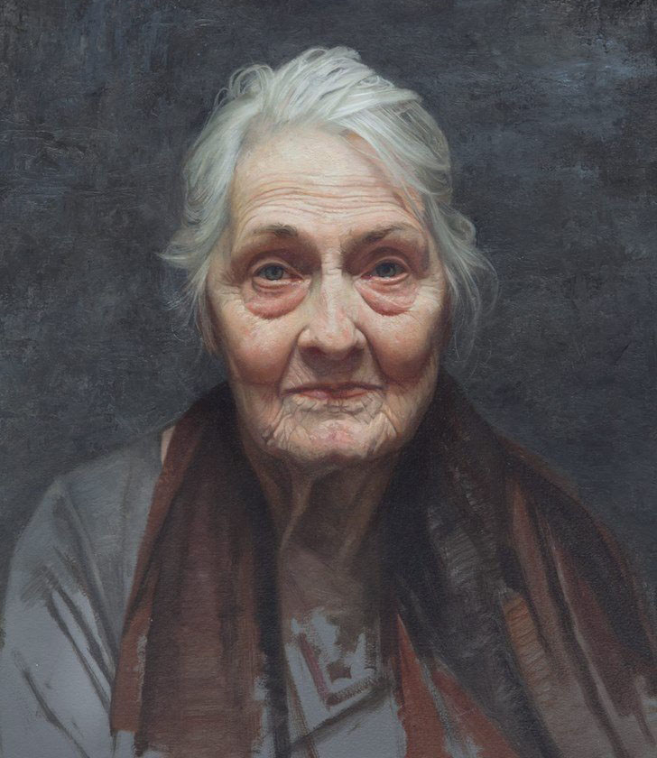 old woman portrait painting