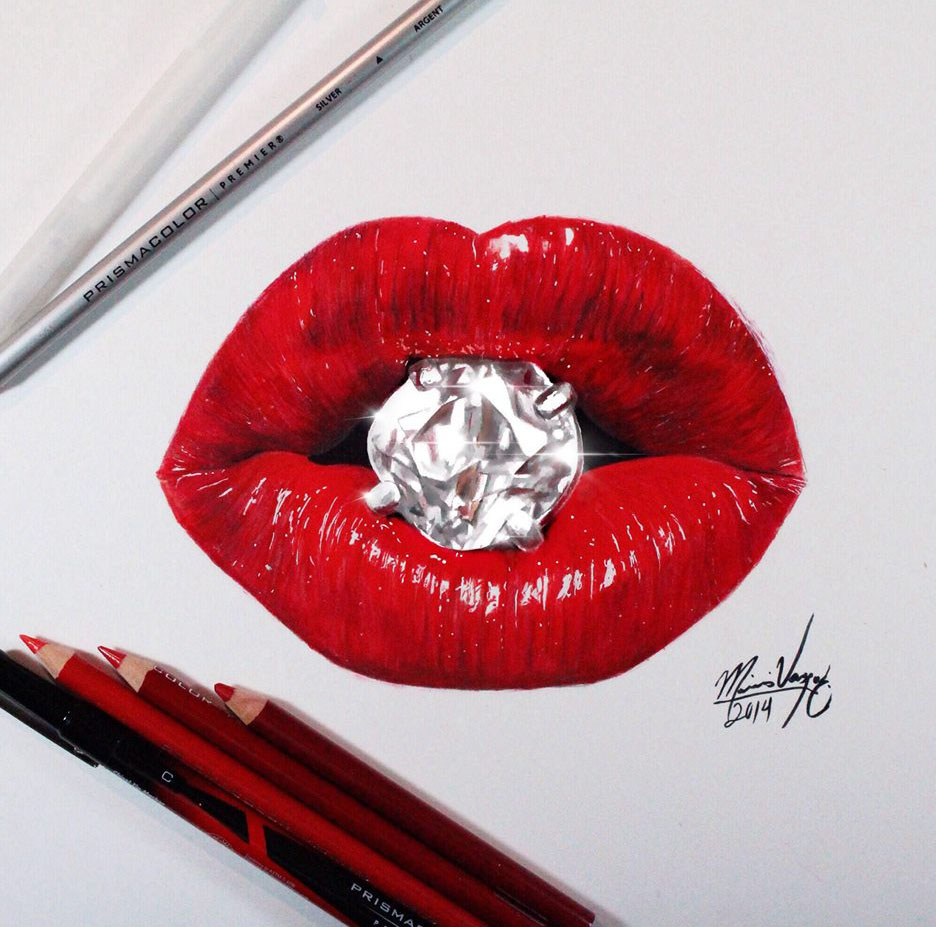 realistic lips color pencil drawing