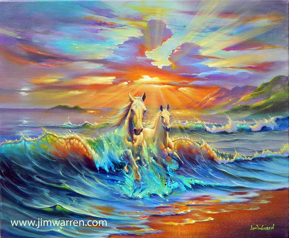 sea colorful surreal painting by jim warren