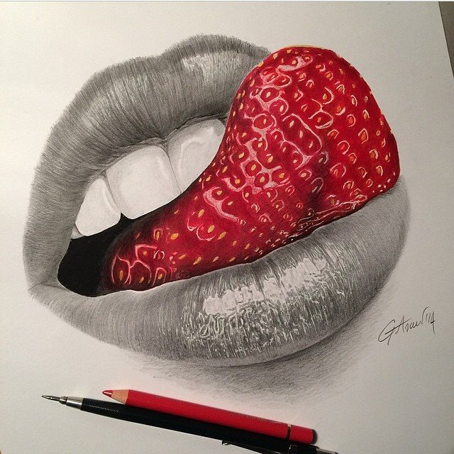 tongue color pencil drawing