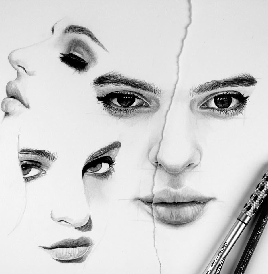 woman pencil drawing