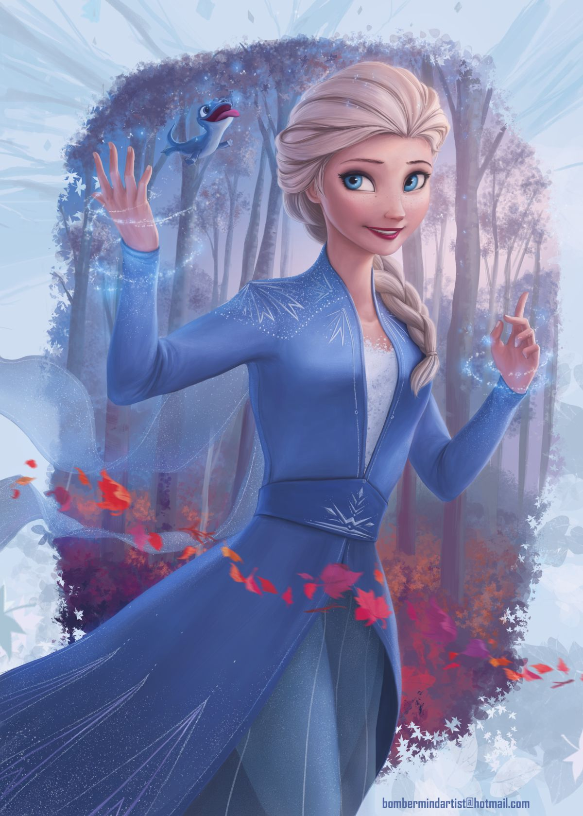 digital art cartoon queen elsa art