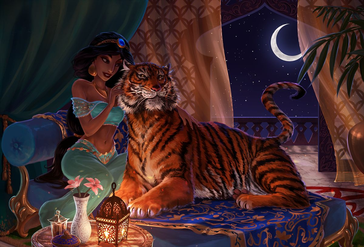 digital art disney princess jasmine aladdin art by elainaf